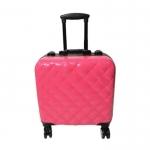 Кейс для визажиста, пластиковый, внутри зеркало с подсветкой, розовый, на колёсиках, размер 40Х27Х46см.