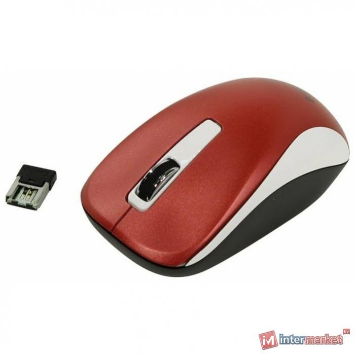 Компьютерная мышь, Genius, NX-7010, 3D, Оптическая, 1600dpi, Беспроводная 2.4ГГц, Бело-Красный